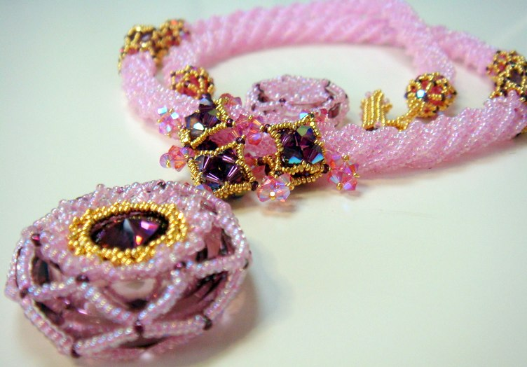 Morgan Le Fay version in Antique Pink with Amethyst Rivoli and 24K Gold Charlottes