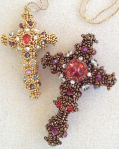 Beaded Byzantine Cross embellished with Swarovski Rivolis, bicone crystals and seed pearls.